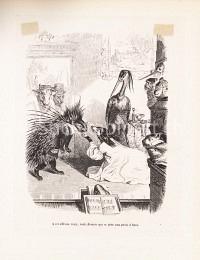 Opern- oder Theaterszene mit Tieren als Protagonisten