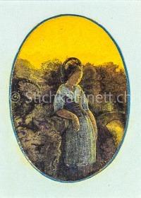 Frau in Tracht vor gelbem Himmel