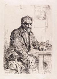 Portrait Mann am Tisch mit Glas